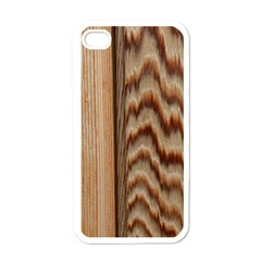 Wood Grain Texture Brown Apple Iphone 4 Case (white)