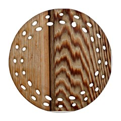 Wood Grain Texture Brown Round Filigree Ornament (two Sides)