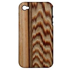Wood Grain Texture Brown Apple Iphone 4/4s Hardshell Case (pc+silicone)