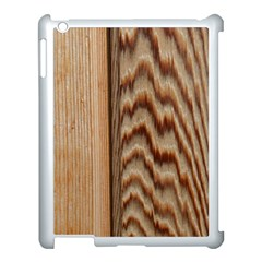 Wood Grain Texture Brown Apple iPad 3/4 Case (White)