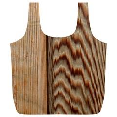 Wood Grain Texture Brown Full Print Recycle Bags (l)