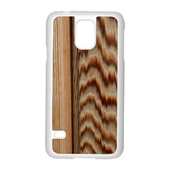 Wood Grain Texture Brown Samsung Galaxy S5 Case (white)
