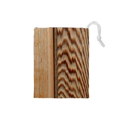 Wood Grain Texture Brown Drawstring Pouches (Small)