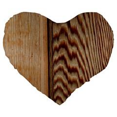 Wood Grain Texture Brown Large 19  Premium Flano Heart Shape Cushions
