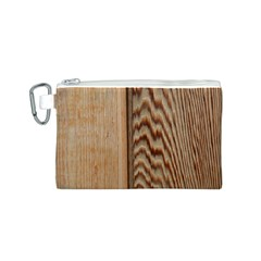 Wood Grain Texture Brown Canvas Cosmetic Bag (S)