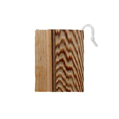 Wood Grain Texture Brown Drawstring Pouches (xs)