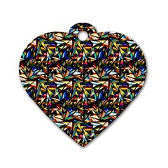 Abstract Pattern Design Artwork Dog Tag Heart (two Sides)