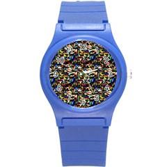 Abstract Pattern Design Artwork Round Plastic Sport Watch (S)