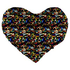 Abstract Pattern Design Artwork Large 19  Premium Flano Heart Shape Cushions