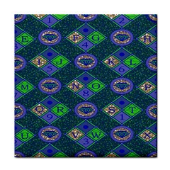 African Fabric Number Alphabeth Diamond Tile Coasters