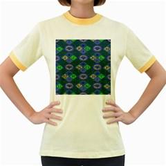African Fabric Number Alphabeth Diamond Women s Fitted Ringer T-Shirts