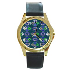 African Fabric Number Alphabeth Diamond Round Gold Metal Watch