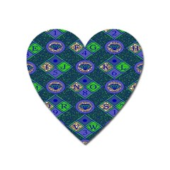African Fabric Number Alphabeth Diamond Heart Magnet