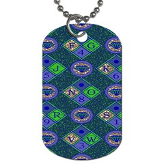 African Fabric Number Alphabeth Diamond Dog Tag (one Side)