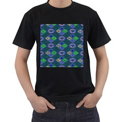 African Fabric Number Alphabeth Diamond Men s T Shirt (black) (two Sided)
