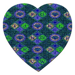 African Fabric Number Alphabeth Diamond Jigsaw Puzzle (Heart)