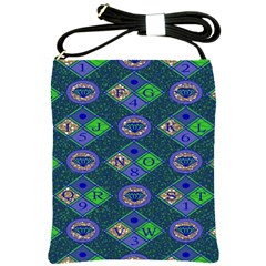 African Fabric Number Alphabeth Diamond Shoulder Sling Bags