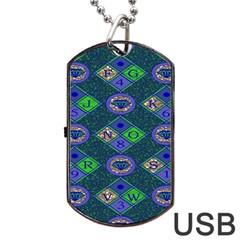 African Fabric Number Alphabeth Diamond Dog Tag USB Flash (Two Sides)