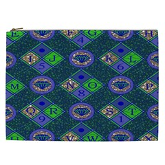 African Fabric Number Alphabeth Diamond Cosmetic Bag (XXL)