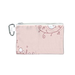 Bird City Sing Pink Notes Music Canvas Cosmetic Bag (S)