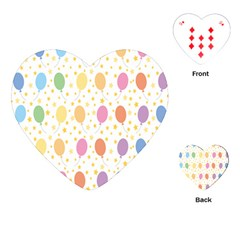Balloon Star Color Orange Pink Red Yelllow Blue Playing Cards (Heart)