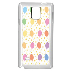 Balloon Star Color Orange Pink Red Yelllow Blue Samsung Galaxy Note 4 Case (White)
