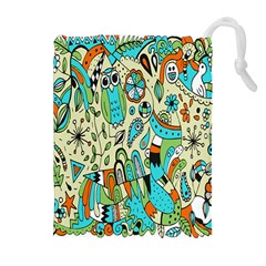 Animals Caterpillar Worm Owl Snake Leaf Flower Floral Drawstring Pouches (Extra Large)