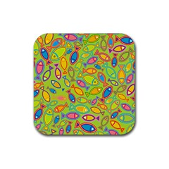 Animals Fish Green Pink Blue Green Yellow Water River Sea Rubber Square Coaster (4 Pack)