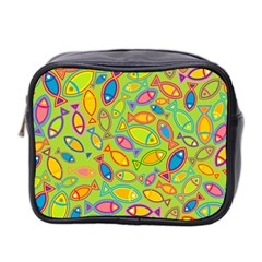 Animals Fish Green Pink Blue Green Yellow Water River Sea Mini Toiletries Bag 2-Side