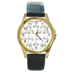 Bicycle Bike Sport Round Gold Metal Watch
