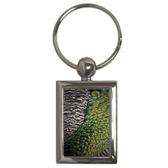 Bird Feathers Green Brown Key Chains (Rectangle)