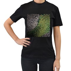 Bird Feathers Green Brown Women s T Shirt (black) (two Sided)