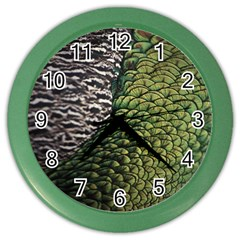 Bird Feathers Green Brown Color Wall Clocks