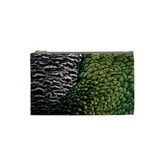 Bird Feathers Green Brown Cosmetic Bag (small)