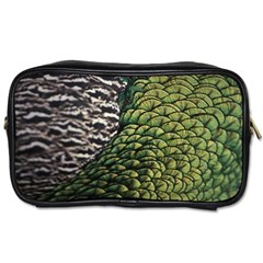 Bird Feathers Green Brown Toiletries Bags 2-Side