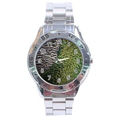 Bird Feathers Green Brown Stainless Steel Analogue Watch