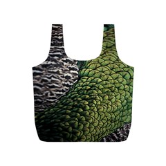 Bird Feathers Green Brown Full Print Recycle Bags (S)