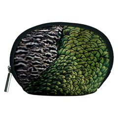 Bird Feathers Green Brown Accessory Pouches (Medium)