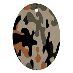 Camouflage Army Disguise Grey Orange Black Ornament (Oval)