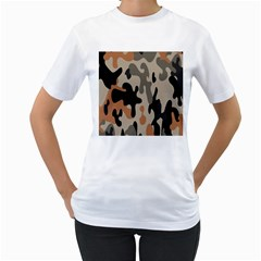 Camouflage Army Disguise Grey Orange Black Women s T Shirt (white) (two Sided)