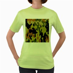 Camouflage Army Disguise Grey Orange Black Women s Green T Shirt
