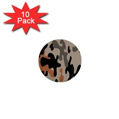 Camouflage Army Disguise Grey Orange Black 1  Mini Buttons (10 Pack)