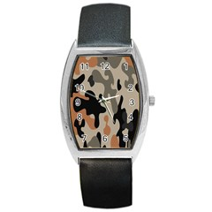 Camouflage Army Disguise Grey Orange Black Barrel Style Metal Watch
