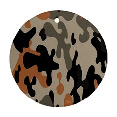 Camouflage Army Disguise Grey Orange Black Round Ornament (two Sides)