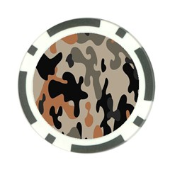 Camouflage Army Disguise Grey Orange Black Poker Chip Card Guard