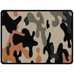 Camouflage Army Disguise Grey Orange Black Fleece Blanket (Large)