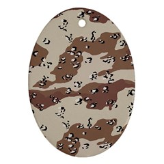 Camouflage Army Disguise Grey Brown Ornament (oval)
