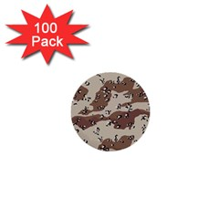 Camouflage Army Disguise Grey Brown 1  Mini Buttons (100 pack)
