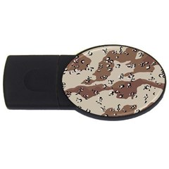 Camouflage Army Disguise Grey Brown Usb Flash Drive Oval (2 Gb)