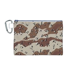 Camouflage Army Disguise Grey Brown Canvas Cosmetic Bag (M)